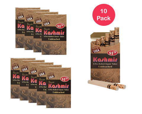 KASHMIR PRE ROLLED CIGARETTES TUBES Unbleached - 10 PACK