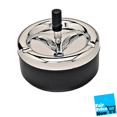 Round push down cigarette ashtray with spinning black tray