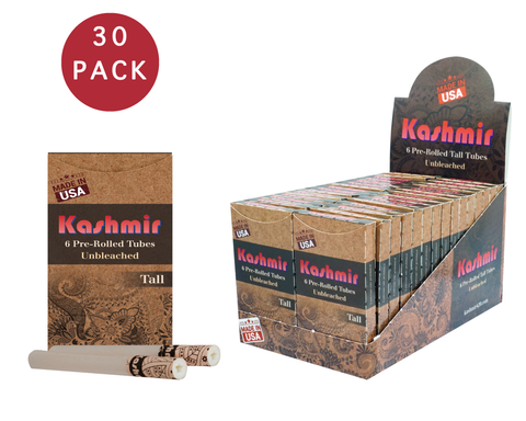 KASHMIR PRE ROLLED CIGARETTES TUBES Unbleached TALL - 30 PACK