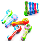 "4.5"" Silicone Hand Pipe with Glass Bowl ( Light on Dark )"
