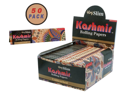 KASHMIR ROLLING PAPERS - UNBLEACHED KING SLIM 50 PACK