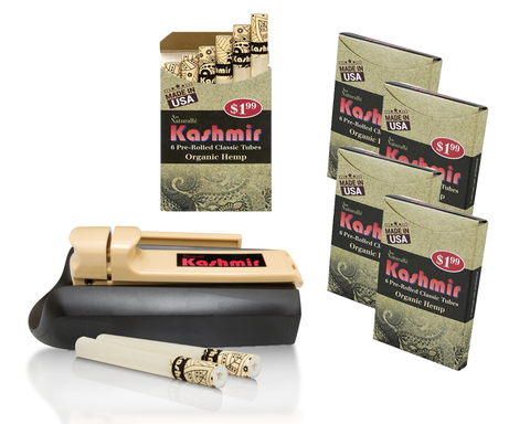KASHMIR PRE ROLLED CIGARETTES TUBES (5) Organic Hemp and WITH KASHMIR Injector Machine