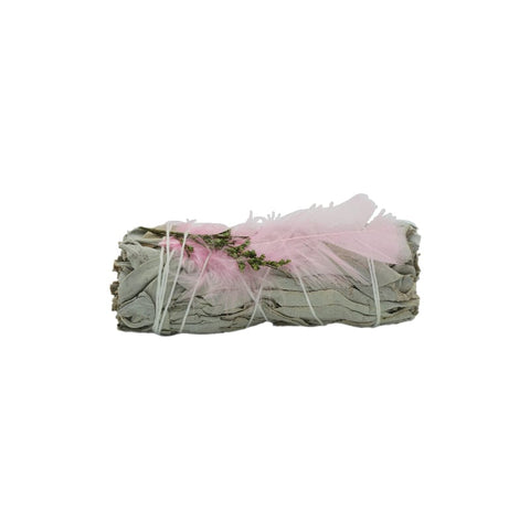 White Sage With Pink Feather