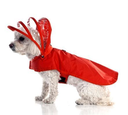 Red Vinyl Dog Rain Coat with Hood and Fleece Lining - Small Dogs