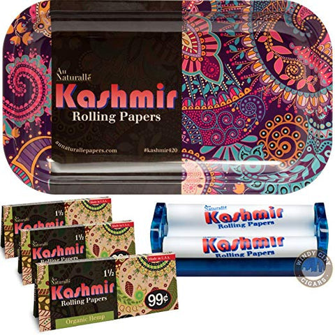Kashmir Rolling Papers (3) Organic Hamp 1 ½ With 110 Roller & Cool Trays – 5 Items Bundle (hippie)