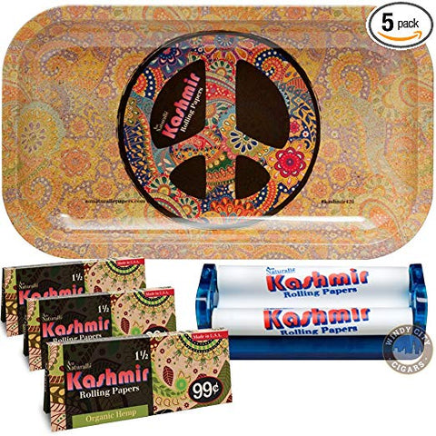 Kashmir Rolling Papers (3) Organic Hemp 1 ½ With 110 Roller & Cool Trays – 5 Items Bundle (Peace) 10x6