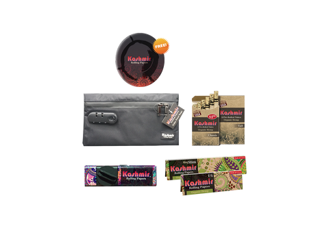 Kashmir Smell Proof Pouch Bundle #2 With Kashmir Rolling Papers, Mini Grinder, & Pre Rolled Tubes