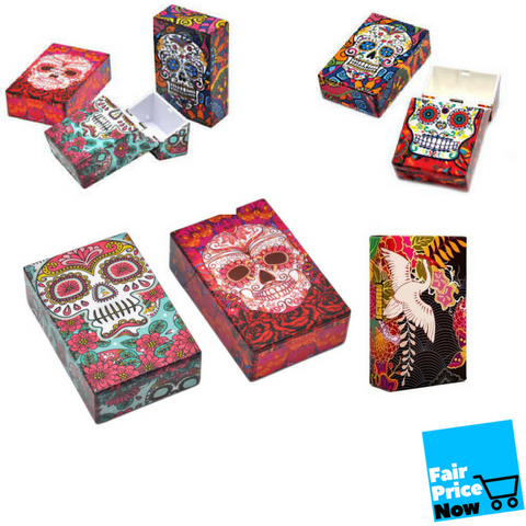 Tatoo Multi Color Top Flip Open Plastic Cigarette Case