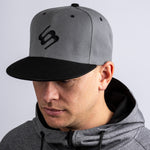 Grey & Black Flat Peak Cap