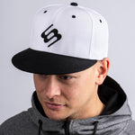 White & Black Flat Peak Cap