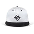 BettySwollox White & Black flat peak cap - front view