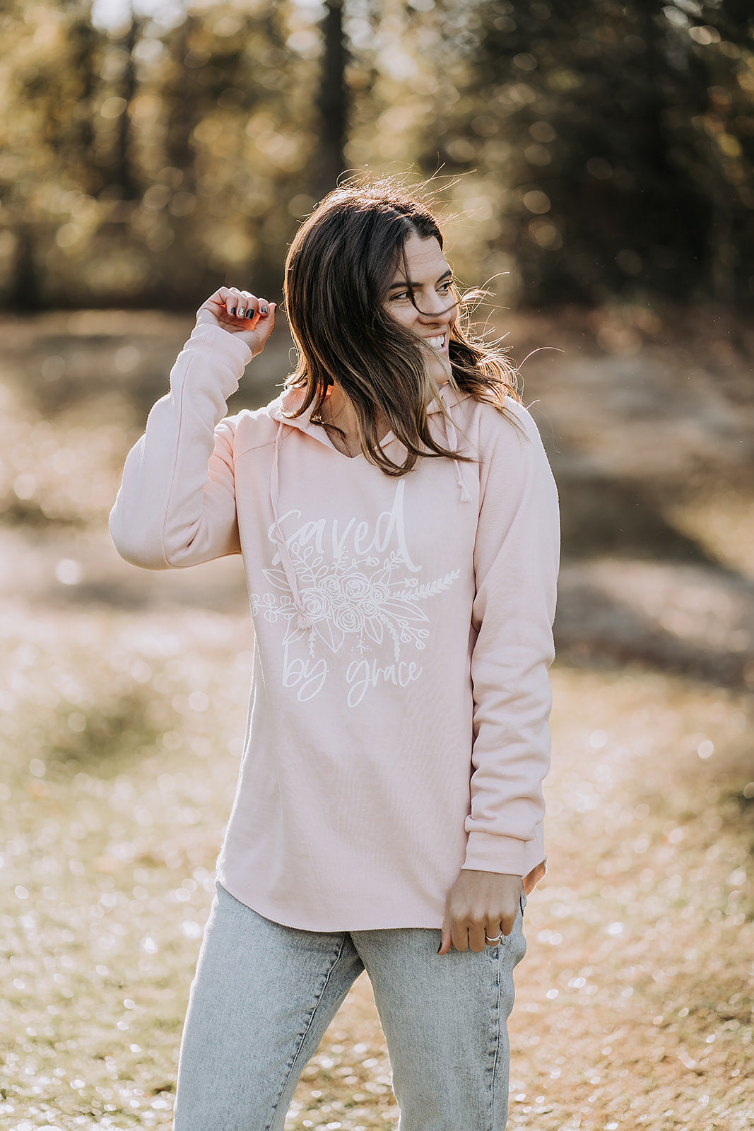 Saved by Grace Floral Blush Hoodie