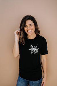 Saved by Grace Floral POCKET Style Tee