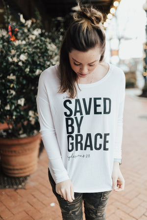 The ORIGINAL Saved by Grace, Ephesians 2:8 - aka our first ever tee is back!