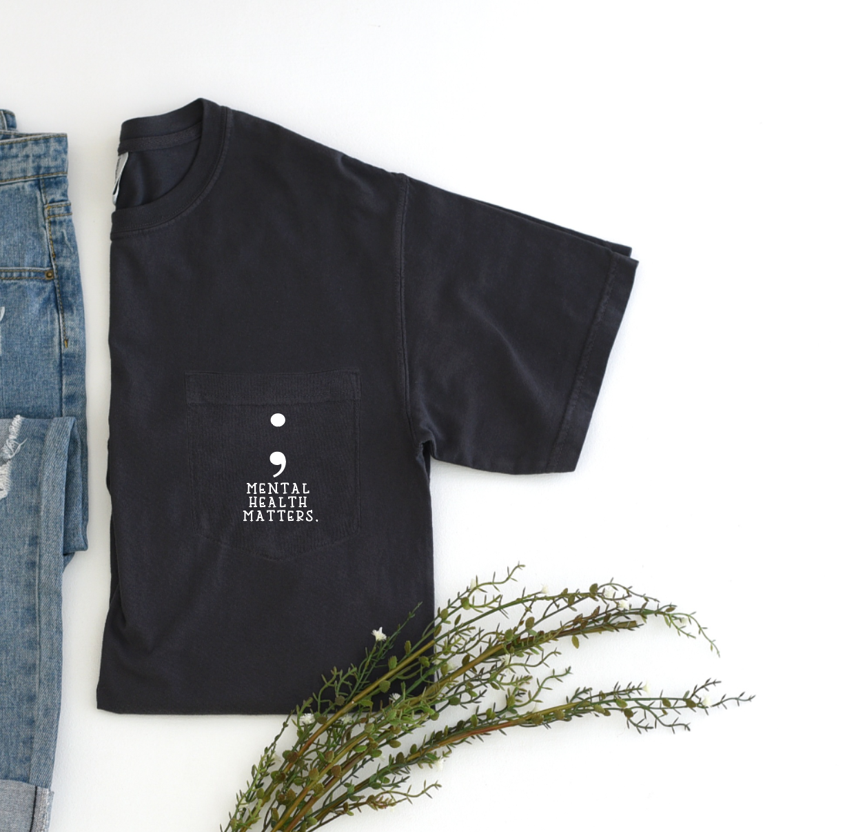 ; mental health matters pocket tee