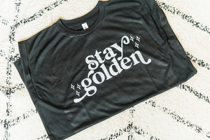 Stay Golden Rolled Cuff Muscle Tank