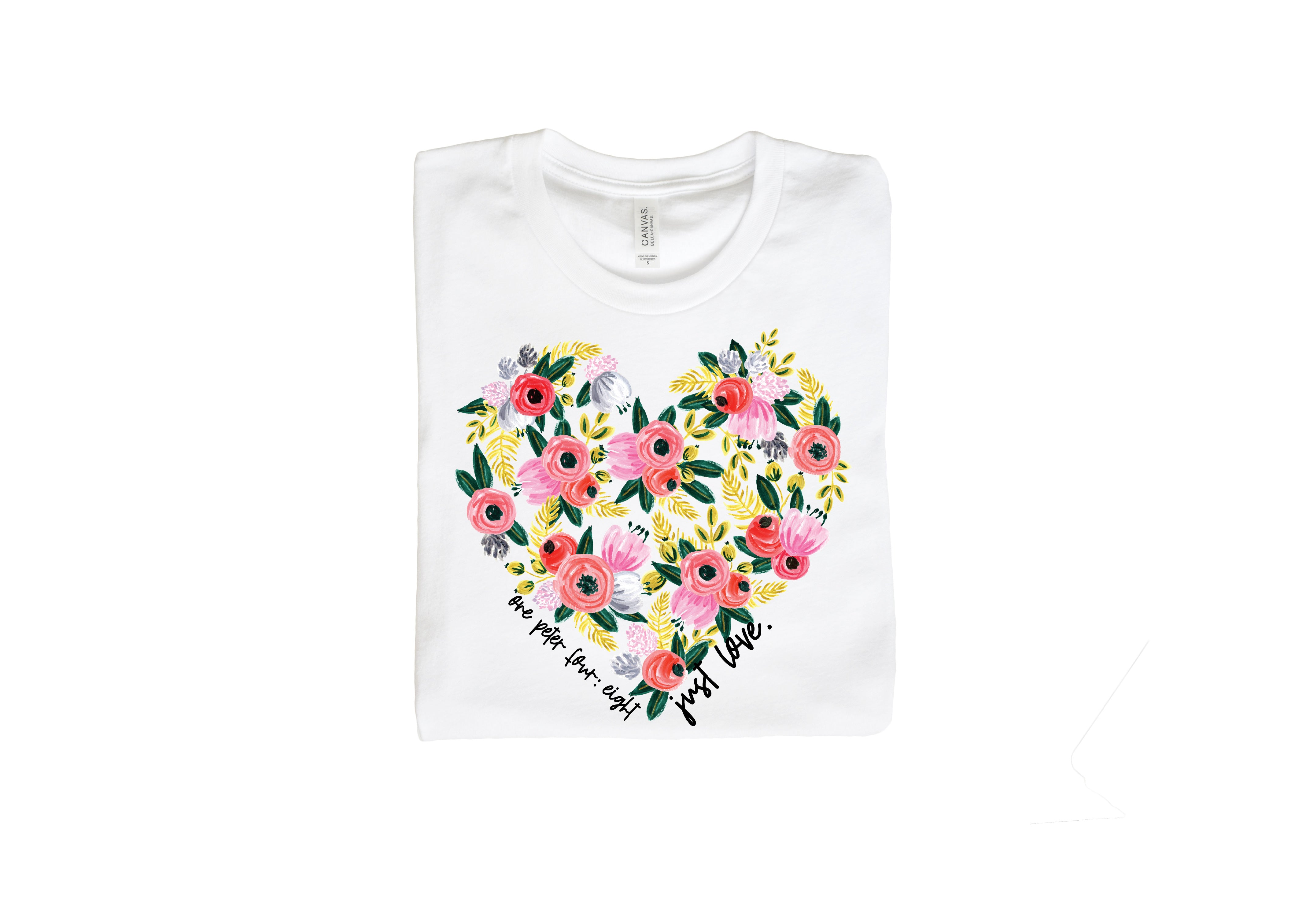 Just Love Floral Heart Tee