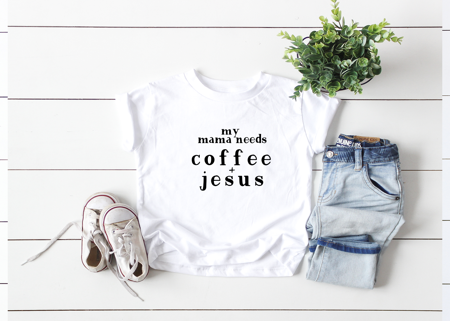 My Mama Needs Coffee + Jesus Toddler Tee