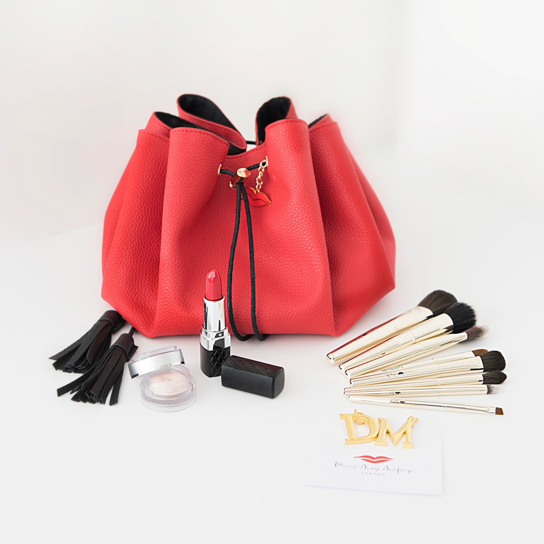 Red vegan leather drawstring makeup bag