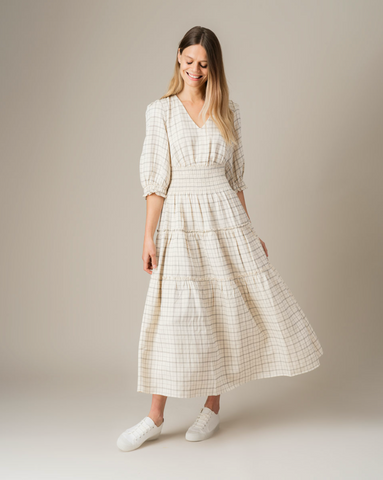 Linen Pin Check Maxi  Dress - Jigsaw Clothing