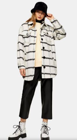 Black & White Stripe Shacket - Topshop