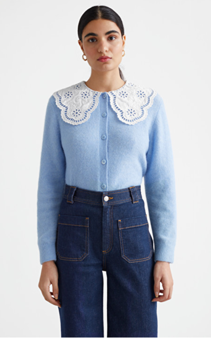 Embroidered Statement Collar Knit Cardigan by & Other Stories