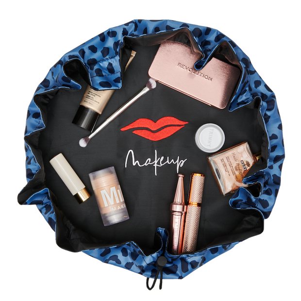 Blue Leopard Print Signature Drawstring Makeup Bag