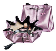 Pink Leatherette Makeup Bag with lip