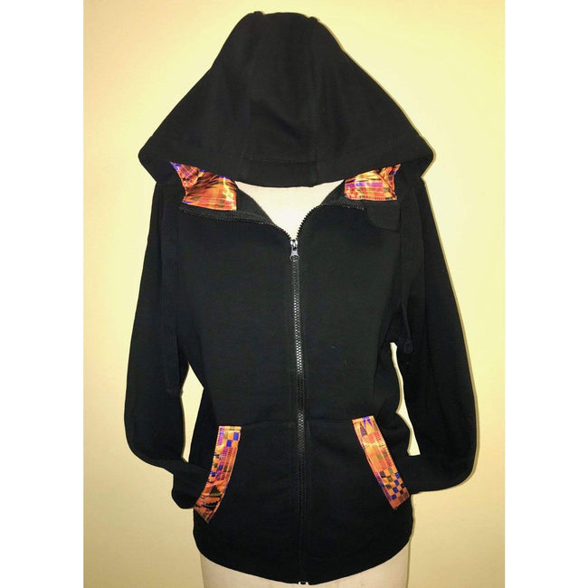 Blacknificent Hoodie Kente Satin Lined Heavyweight Zip Hoodies
