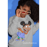 Blacknificent Sweatshirt White / S Angelica Afro Puffs Crew neck Sweater