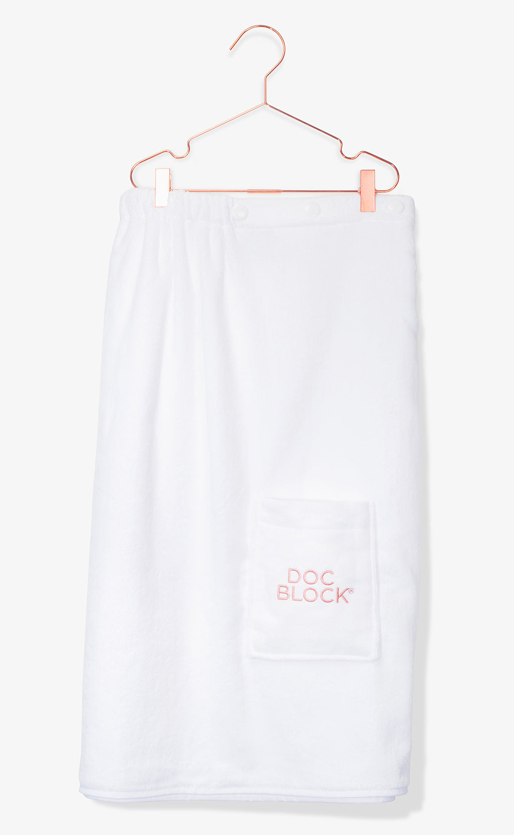 DOC BLOCK EMBROIDERED TOWEL WRAP IN 100% WHITE COTTON