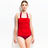 HALTER NECK ONE PIECE - RED/BURGUNDY