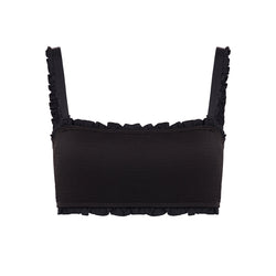 Noir Smocked Bandeau Top