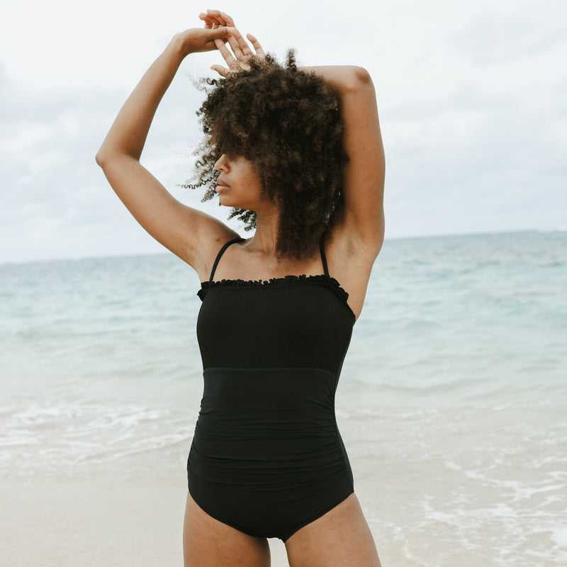 Noir Smocked One Piece