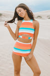 Ruffle Shoulder Tankini - Pastel Dreams