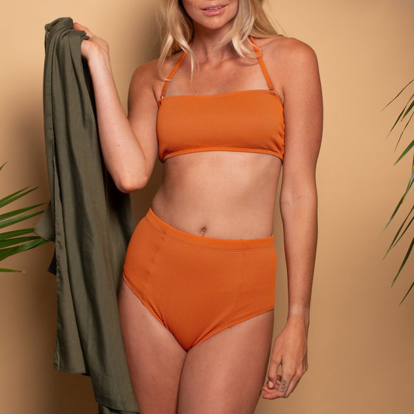 Tangerine Ribbed High Waisted Bottom