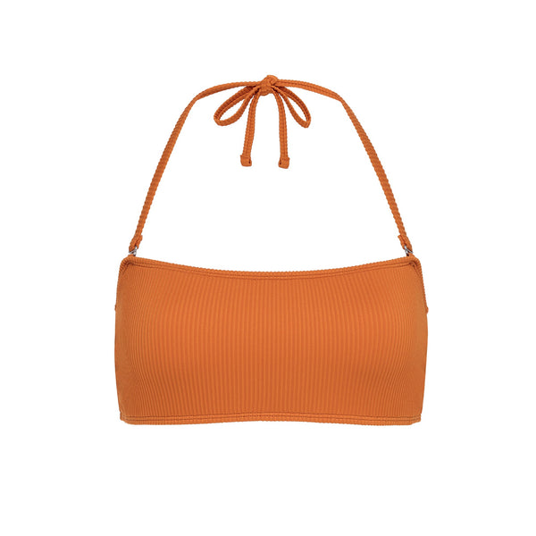 Tangerine Ribbed Bandeau Top