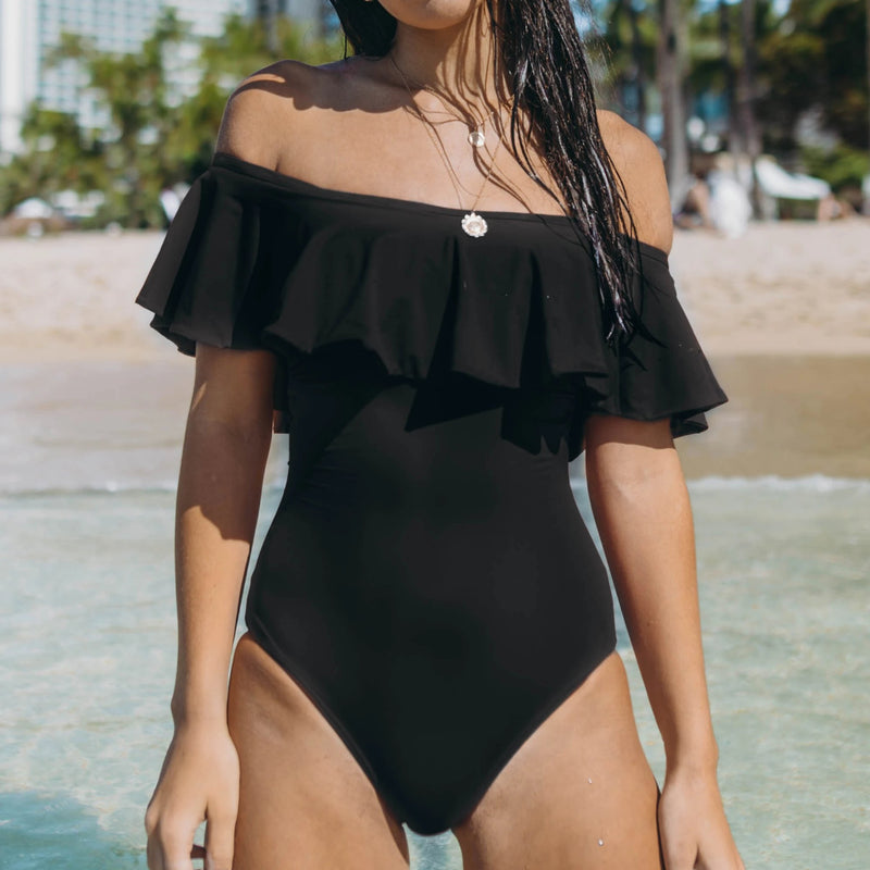 Black Ruffle Bandeau One Piece