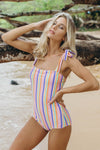 Candy Stripe Shoulder Tie One Piece