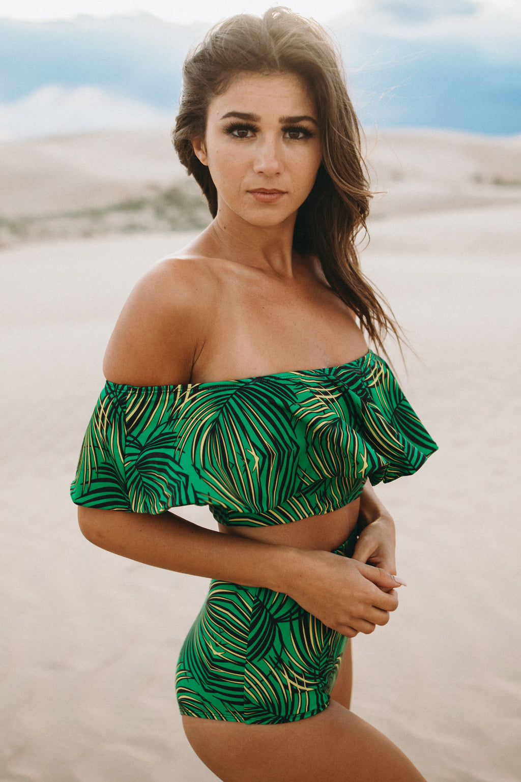 Ruffle Bandeau Top - Pacific Palm