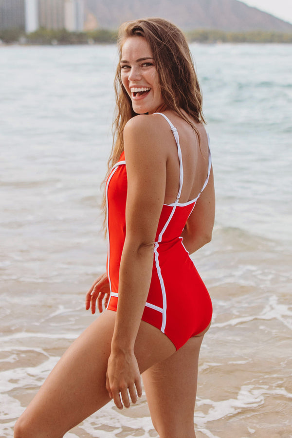 Cherry Collared One Piece