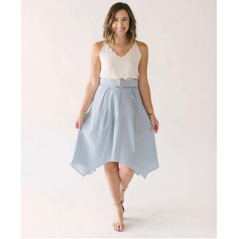 Caroline styles the Bishop + Young Sara Hanky Seersucker Hem Skirt