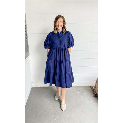 8.28 Boutique - English Factory Navy Tiered Maxi Dress
