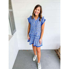 Joy*Joy Blue Floral Ruffle Hem Dress
