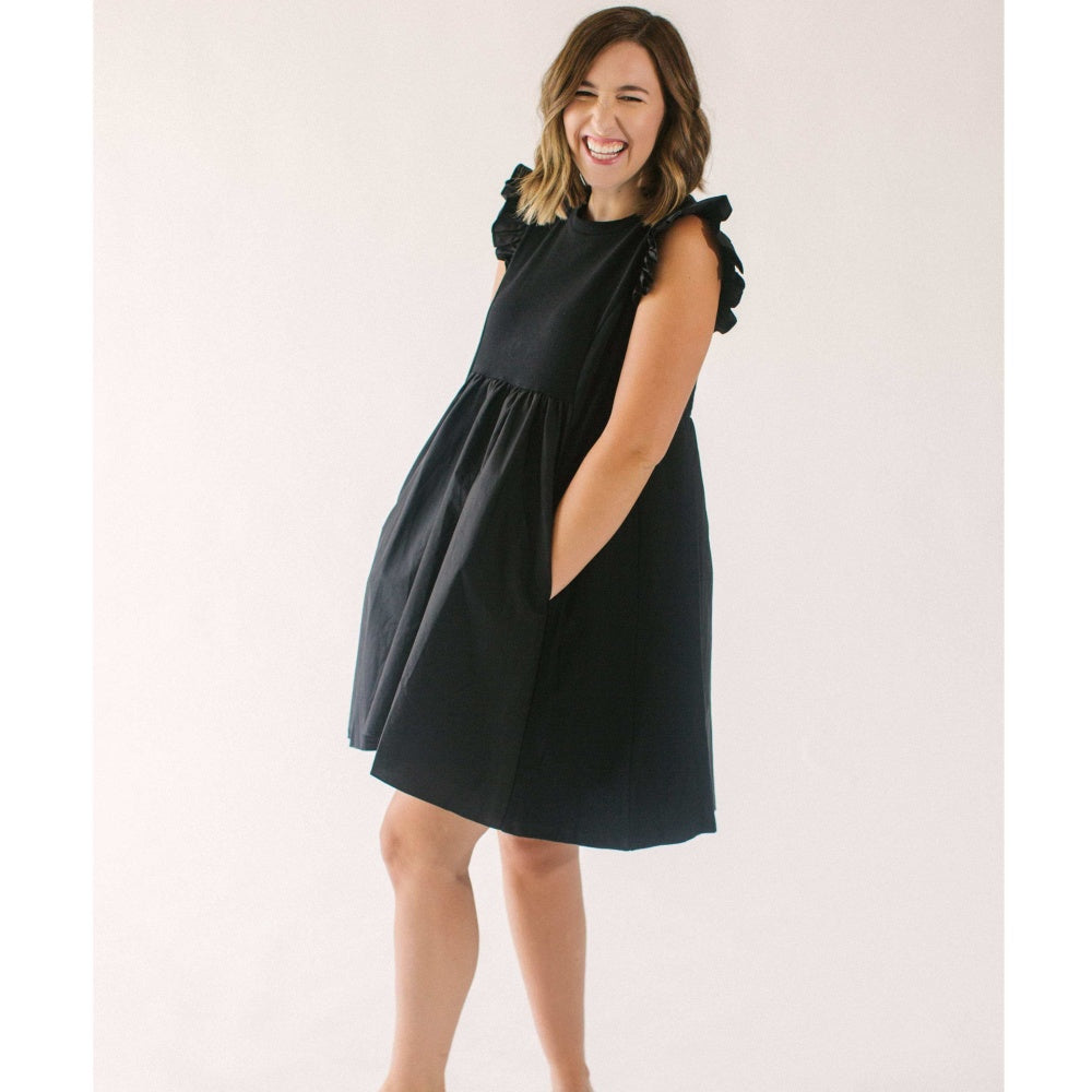 8.28 Boutique - English Factory Keeping It Simple Black Dress