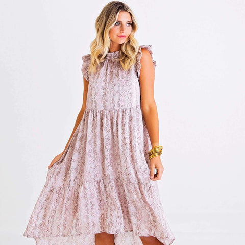 8.28 Boutique - Karlie Clothes Snakeskin High Low Tiered Dress