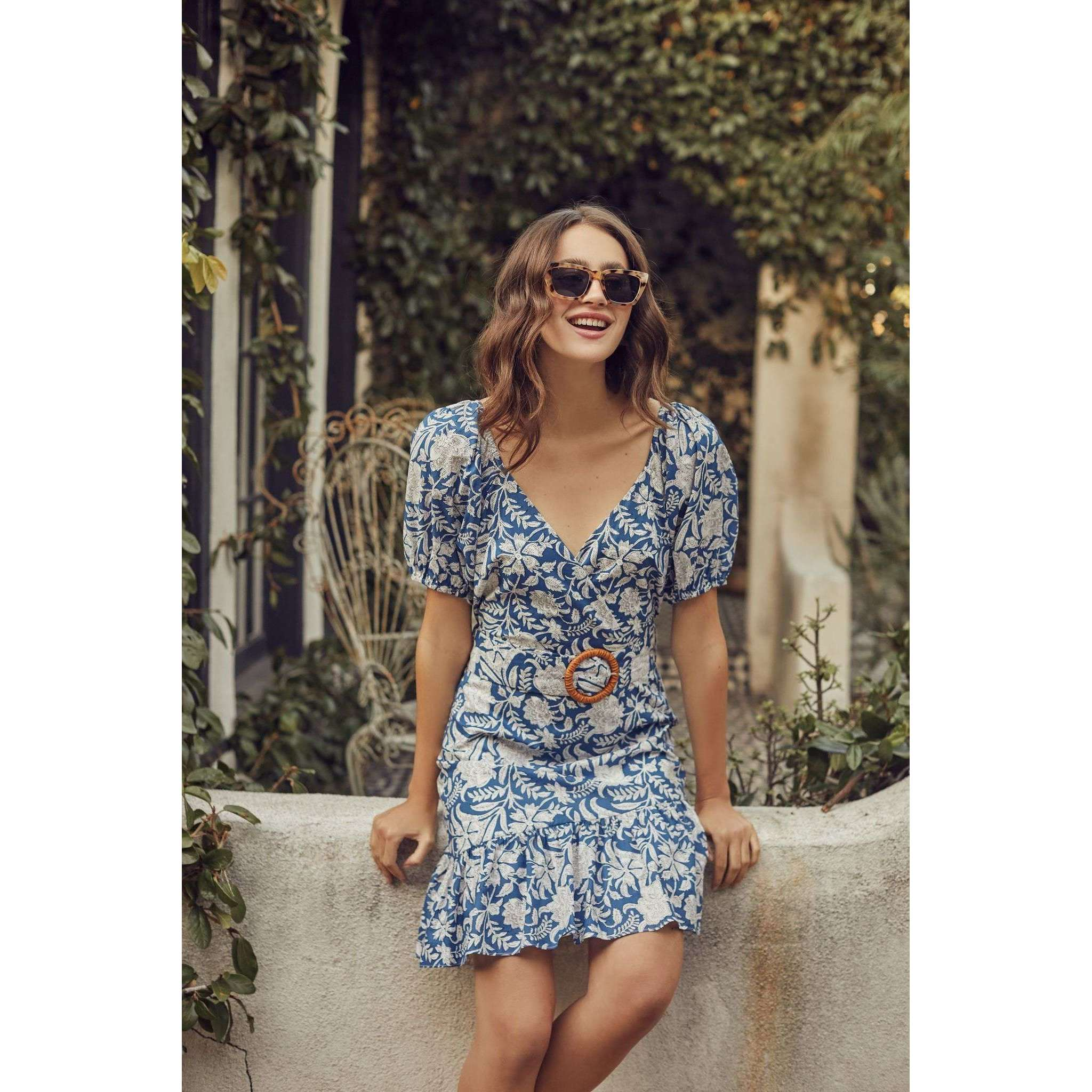 8.28 Boutique:LUCY PARIS,Lucy Paris Alexandra Belted Blue and White Dress,Dress