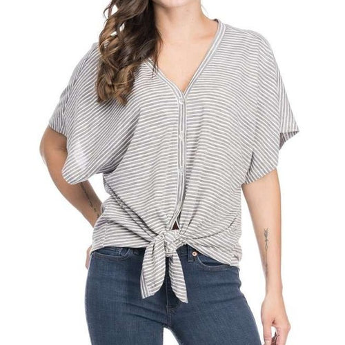 8.28 Boutique:Blues and Greys,Blues and Greys Striped Tie Knot Top,Tops