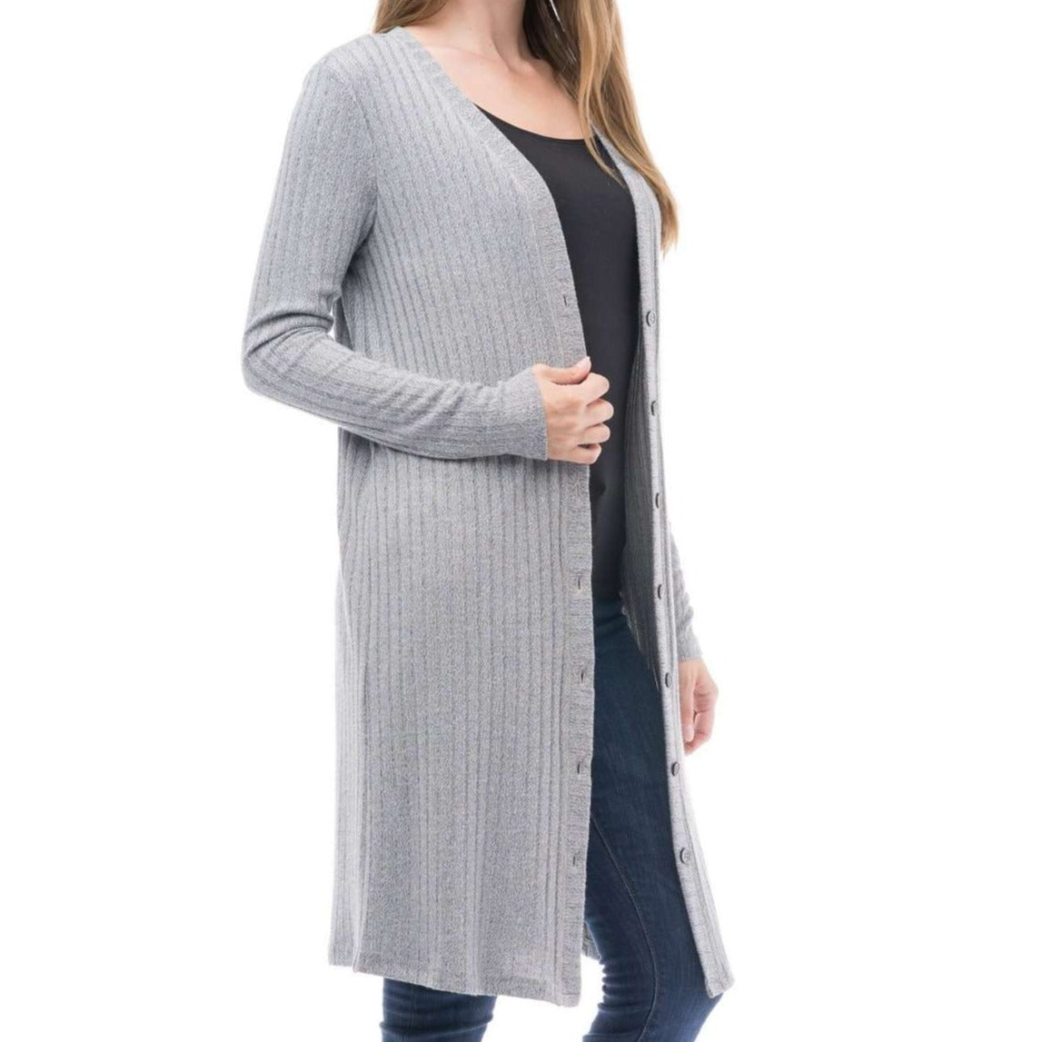 8.28 Boutique:Blues and Greys,Blues and Greys Dark Grey Cardigan,Sweaters