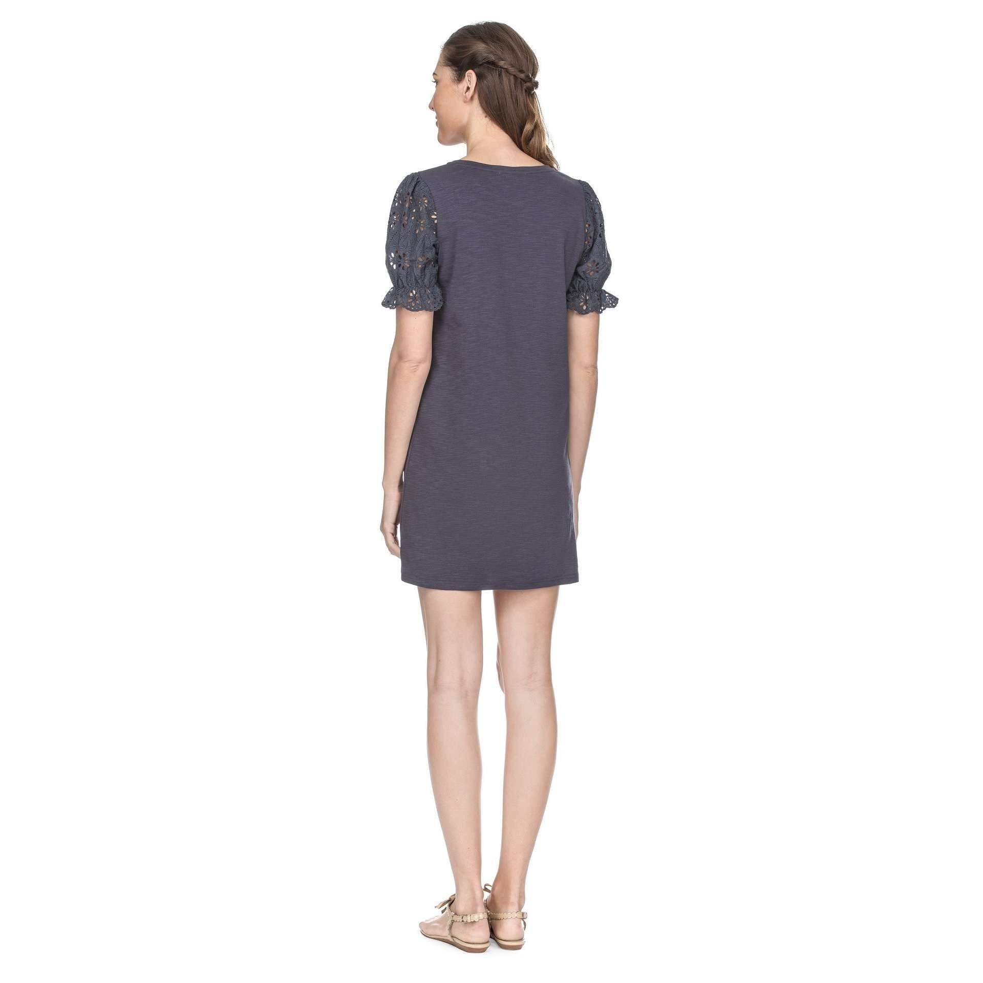 8.28 Boutique:Joy*Joy,Joy*Joy Navy Eyelet Sleeve Dress,Dress